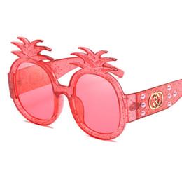 Wholesale Diamond Sunglasses - Pineapple Sunglasses Women Men Brand Designer Sunglasses Luxury Diamond Frame UV Women Sun Glasses Shades Goggles L15