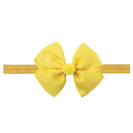 Wholesale hair color ball - 10pc Ribbon Hair Bows with Elastic Band Kids Pom Ball Headbands Hairbands Hair Accessories