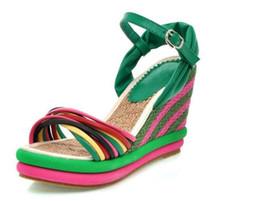 Wholesale Wood Wedge Sandals - gladiator sandals women 2018 women wedges sandals bohemia color block decoration straw braid platform Round head anti-skid