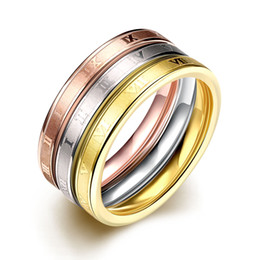 Wholesale Top Beautiful Rings - Hot 316L stainless steel 3 laps Roman numerals finger ring Fashion Jewelry beautiful engagement gift Top quality