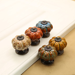 Wholesale Stainless Steel Doors - Bulk Lots Leopard Pumpkin Ceramic Door Pull Drawer Handles Furniture Antique Shell Knobs Tiradores De Cajón Home Decor Kitchen Accessories