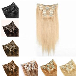 """Wholesale 26 remy human hair clip - Hot sale Indian remy hair Clip in on Human Hair Extension 16""""-26"""" 7pcs set 70g dark brown blonde color cheap hair"""
