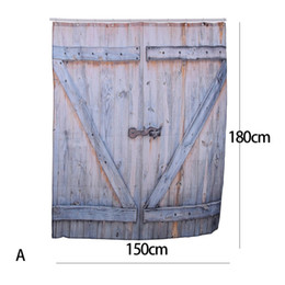 Wholesale country wooden - American Country Style Polyester Shower Curtain Old Bronze Wooden Garage Door Vintage Rustic Shower Curtain Bathroom Decor Art