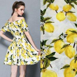 Material de algodón para coser online-Tela de algodón 100% tela de algodón impresa para la ropa de los niños, tela de algodón limón vintage para el vestido de costura DIY Material