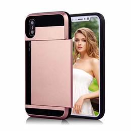 Wholesale Iphone Case Slide Card - V-erus Hybrid Case Card Slot For Iphone X 8 7 6 6s Plus Samsung Note 8 S9 S8 plus S7 J5 J7 Huawei Shockproof TPU PC Slide OPPBAG Aicoo