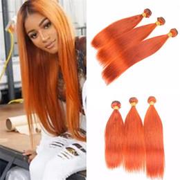 Wholesale Cheap Colored Hair Dye - New Burnt Orange Human Hair 3 Bundles Extensions 8A Cheap Pure Colored Orange Straight Virgin Malaysian Hair Weaves Mixed Length