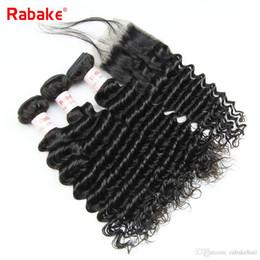 all'ingrosso remy dei capelli all'ingrosso Sconti Malese Remy Deep Curly Bundles con chiusura Rabkae Deep Wave Cuticle Allineato Tessuto dei capelli umani Estensioni De Cabello All'ingrosso Deal