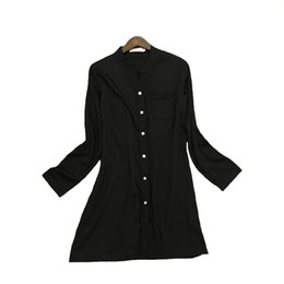 wholesale long sleeping shirts Promo Codes - Black Sexy Women Nightshirt Summer New Nightdress Sleep Shirt Silky Satin Sleepwear Negligee Long Sleeve Home Clothes Nightgown