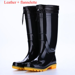 Wholesale H Shoes Men - Wholesale Men Rain Boots Top Quality Rainboots Wellies Men High Boots Waterproof H Brand Rubber Outdoor Water Shoes Free Shipping
