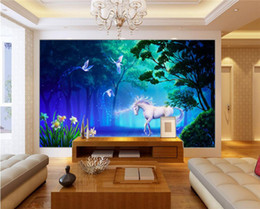 Wholesale Horse Housing - Personalized Customization 3D Stereo Fairy Tale Forest Fluorescent White Horse Photo Mural Wallpaper Living Room Backdrop Fresco