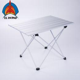 Aluminium-tisch tisch online-EL INDIO Faltbarer Klapptisch aus Aluminium mit Aufrolltasche für Picknick im Innen- und Außenbereich, Grill, Strand, Wandern, Reisen, Fis