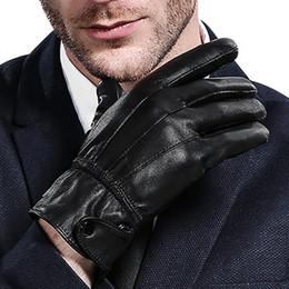 aquecedores de mão sem dedos Desconto Luvas de couro fino, inverno de pele de carneiro dos homens morna e Cashmere engrossamento de negócios luvas quentes luva de couro genuíno