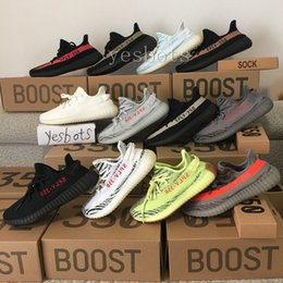 Wholesale Green Tint - 2018 Best Sply 350 Boost 350 V2 Semi Frozen Cream White Zebra Bred Black Red Beluga 2.0 blue tint Kanye West Running Shoes Sport Sneakers