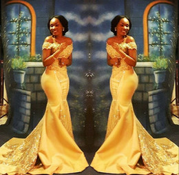 robes élégantes couleur nude Promotion Elegant Yellow Prom Dresses 2018 Formal Off the Shoulder Mermaid Luxury Beading Crystal Satin Arabic Evening Gowns