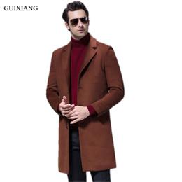 Discount men long coat dressing - Men Boutique Woolen Overcoat New Style Fashion Casual Single Breasted Solid Slim Sheep's Wool Long Woolen Coat Dress Size M-3XL
