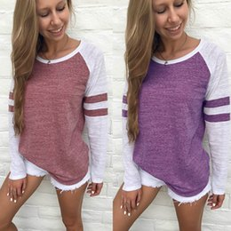 Wholesale Purple Blouses For Women - Women Long Sleeved Cotton Tops T-Shirts Tee Sportswear Essensial Sweatshirts Striped Loose Blouse for Spring Plus Size