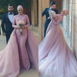 Wholesale Detachable Shirt Lace Wedding Dress - New Mulsim Overskirt Plus Size Mermaid Lace Wedding Dresses with Detachable Skirt Middle East Arabic Country Bridal Gown Bride Dress Custom
