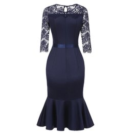 ae0671e4305 2018 Autumn Hot Sale Elegant Vintage Blue Women Lace Dresses Mermaid Zipper  Floral Plain Girls Fashion OL Female Slim Dress