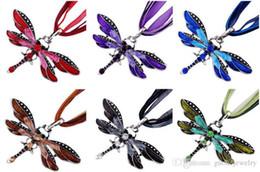 Jóia da libélula vintage on-line-Libélula do vintage colar de pingente de cristal rendas corda colar de bronze retro muitas cores mulheres moda jóias declaração