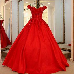 Robes de soirée de style corset en Ligne-Dernière robe de soirée Designs Dubaï longue robe de soirée cristal hors de l'épaule robe de bal Corset Retour rouge luxe robe de bal 2019 nouveau style