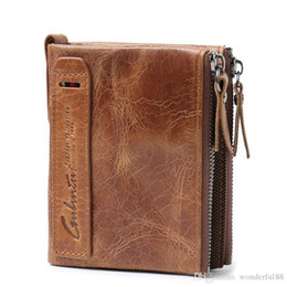 Wholesale Crazy Pockets - Genuine Crazy Horse Leather Men Wallet Short Coin Purse Small Vintage Wallets Brand High Quality Designer carteira