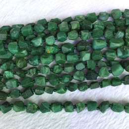 """Wholesale Jade Stone Faceted Beads - Natural Genuine Raw Mineral Dark Green South Africa Jade Hand Cut Nugget Free Form Loose Rough Matte Faceted Beads 6-8mm 15.5"""" 05368"""