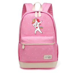Wholesale Canvas Dots Backpacks For Girls - Dab unicorn cartoon Backpack shoulder Travel Bag for teenagers girls women Canvas dot school bag