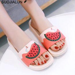 e75bf4e1e865a1 New Women Slippers Cartoon Fruit Platform Bathroom Home Slipper Slip On  Sandals Beach Flip Flops Outdoor Slides Women Flat Shoes