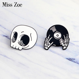 Wholesale dj jacket - Miss Zoe Skeleton Record Hands Pin DJ Hands Brooch Denim Jacket Pin hat Buckle Shirt Badge Dark Punk jewelry Gift for friends
