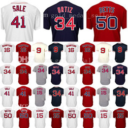 Wholesale Pedroia Jersey - Embroidery Mens 34 David 15 Dustin Pedroia 16 Andrew Benintendi Jerseys 50 Mookie Betts 9 Ted Williams Cool Base Baseball Jersey