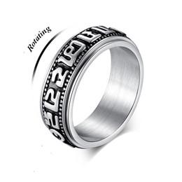 Deutschland Stahl Tibetischen Buddhismus Om mani padme hum Rotierenden Ring für Frauen Glück Ringe Buddhistischer Ring Glückswechsel Männer BFF cheap buddhism ring Versorgung