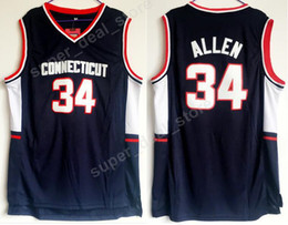 Wholesale Fan Color - Men Basketball 34 Ray Allen College Jerseys Uconn Connecticut Huskies Allen Jersey Navy Blue Color Team All Stitched For Sport Fans