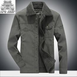Automne Hiver Vestes De Fourrure Hommes New 2018 Chaud Coton Naturel AFS Style Mince Denim Court Design Cargo Vintage Vêtements Décontractés ? partir de fabricateur