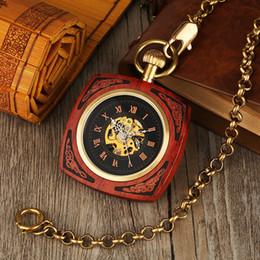 2019 женские антикварные карманные часы Старинные автоматические Royal Red Bamboo Square мужчины карманные часы дерево карманные часы ретро античные подарки для женщин Reloj де Bolsillo скидка женские антикварные карманные часы