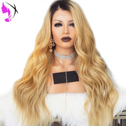 Wholesale 1b Burgundy Color Wigs - Ombre 1B Blonde Wig Long Body Wave Heat Resistant Fiber Glueless Synthetic Lace Front Wigs with Dark Roots for Women