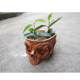 Máscara humana on-line-P-Flame Crânio Humano Pote De Flores Vasos Decorativos Tigelas Mão Artesanato de Resina Alienígena Máscara Pote De Jardim Para O Dia Das Bruxas Home Decor