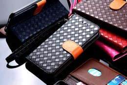 Wholesale Huawei Honor Wallet - for huawei mate 10 lite case Luxury Weave lines Leather Stand Card Slot Wallet Case for huawei nova 2i honor 9i funda Flip cover