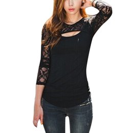 Wholesale Low Cut V Neck Shirts - Sexy Women Low Cut Blouse Tee Shirt Fashion Lady Lace Floral Long Sleeve Stitching Hollow out Shirts Slim Club Tops Blusas