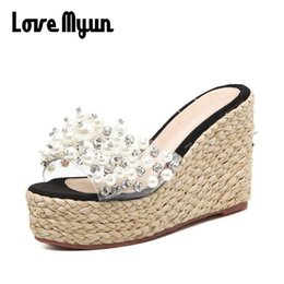 61658e49aab2f7 New Bling Wedges 2018 Lady Summer Casual Sandals Straw Flip Flops Platform  Slides String Bead Shoes Woman Beach Slippers SC-61