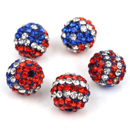 Perline di bandiera usa online-Tsunshine USA Bandiera Ceca Cristallo Rotondo Disco Ball Clay Beads misura Shamballa Monili Che Fanno Braccialetto DIY (20 pz, 10mm)