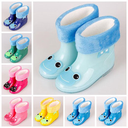 Wholesale Wholesale Kids Rain Boots - 7 Colors 5 Sizes Rainbow Jelly Rain Shoes Kids Catoon Waterproof Shoes Baby Rain Gear Cartoon Rain Boots With Cotton Wool CCA8657 20pairs