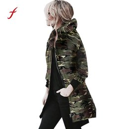 Wholesale camouflage womens jackets - FEITONG Brand Womens Hooded Long Sleeve Coat Jacket Windbreaker Camouflage Outwear New Winter Keep Warm Fashion Long coatwear