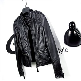 Wholesale Thin Leather Motorcycle Jacket - Wholesale- 2016 new leather female spring cultivate one's morality show thin big yards short coat collar motorcycle jacket
