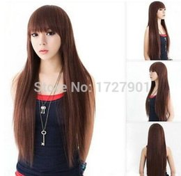 2019 радужные человеческие волосы Бесплатная доставка + + + + новый косплей коричневый длинные прямые волосы женские волосы полный парики мода парики