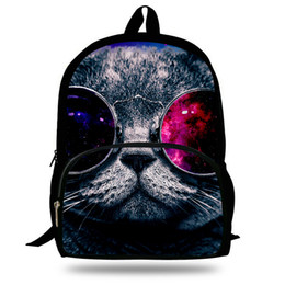 Wholesale Cat Pattern Bag - 16-Inch Kids Animal Backpack Cute Cat Print Bag For Kids Cat Pattern Backpack Zoo Animal Bag For Children School Bags Boys Girls