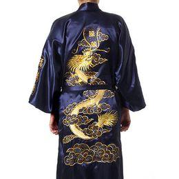 Traditional Embroidery Dragon Kimono Yukata Bath Gown Navy Blue Chinese Men Silk Satin Robe Casual Male Home Wear Nightgown от