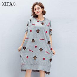 Wholesale Korea Summer Short Dress - [XITAO] Korea 2018 New Summer Casual Women Cartoon Pattern Print Irregular Dress Female Short Sleeve O-Neck Loose Dress KZH021