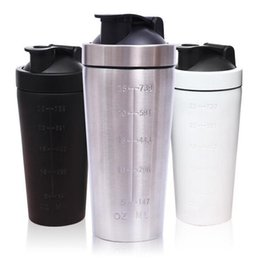 Wholesale Home Bottled Water - 25oz Shake Sports Stainless Steel Water Bottle Protein Powder Shaker Water Bottle Cups Fitness Home Dinkware Tool OOA4246