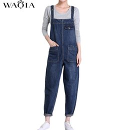 Wholesale Jeans Loose Legs For Women - Plus Size New Women's Casual Loose Denim Overalls Lady's Solid Colors Baggy Jeans Wide Leg Jumpsuit Pants with Pocket for Woman