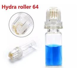 rullo cura Sconti Hydra Roller 64 pin Titanium Microneedle Hydra Roller 0.25mm / 0.5mm / 1.0mm Anti rughe rimozione dell'acne derma Roller strumenti di cura della pelle